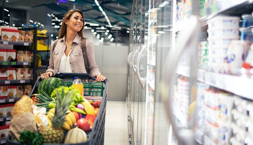 Women shopping in a grocery store